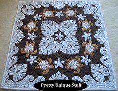 42 Hawaiian Quilt Wall Hanging  Monstera/Sea by prettyuniquestuff, $189.99