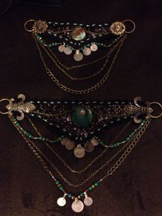 Turquoise, bronze and black tribal fusion bellydance 2 part belt by Olah California on etsy.