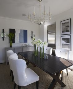Dining Room Ideas | Black table  Note: Great iDeas