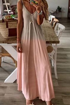 Gradient Slip Maxi Dress – Jojo Like Casual summer elegant pretty vacation dress vintage simple fancy gradient slip maxidres for women Denim Maxi Dress, Backless Maxi Dresses, Denim Romper, Cool Outfits, Summer Outfits, Casual Outfits, Fashion Outfits, Beautiful Outfits, Girly Outfits