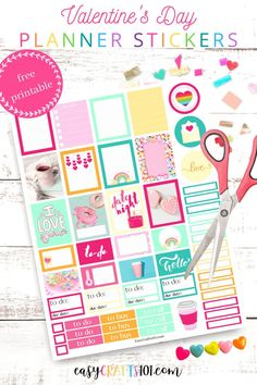 Free Printable Colorful Valentine's Day Planner Stickers #valentinesday #plannerstickers #printableplannerstickers #valentinesdayprintables #plannerprintables Valentine's Day Printables, Printable Planner Stickers, How To Make Planner, Sticker Organization, Mini Happy Planner, Planner Layout, Day Planners, Valentine Day Crafts, Sticker Paper