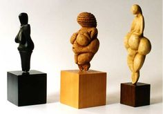 Three European Venus figurines from the ice-age of ca. 25,000 years ago. From left to right: Venus of Dolni-Vestonice, Czech, burnt clay. Venus of Willendorf, Austria, Chalk. Venus of Lespugue, France, mammoth ivory.
