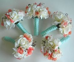 coral+and+cream+wedding+colors | Coral Cream and Soft Aqua Real Touch Bridal by BlueLilyBridal, $175.00 ...