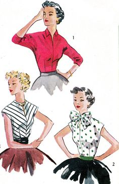 1950s Blouse Pattern Simplicity 4180 Womens Cap or by paneenjerez, $12.00