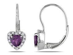 MIMI&MAX 10k WhiteGold Created Alexandrite Diamond Earrings (.14 Ctw,G-H,I2;I3) - 11 Main