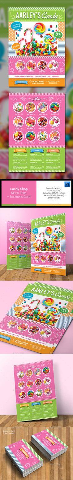 Candy Shop Menu Flyer Template PSD #design Download: http://graphicriver.net/item/candy-shop-menu-flyer/13305731?ref=ksioks