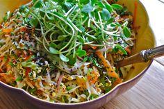 sesame sprout salad, vegan salad, vgourmet, ruth richardson, asian noodle salad