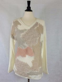 NEW CHICO'S SIZE 2 12/14 Abstract Chic Adaline Pullover ECRU Womens Top Sweater #Chicos #PulloverSweater #Casual