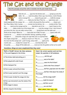 The cat and the orange You are in the right place about Reading Comprehension elementary Here we offer you the most beautiful pictures about the Reading Comprehension strategies you are looking for. English Writing Skills, English Reading, English Vocabulary, Teaching English, Learn English, Teaching Spanish, Learn French, English Grammar Exercises, English Worksheets For Kids