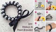 How to make a ribbon and pearl bracelet ribbon diy diy ideas diy crafts do it yourself diy projects diy jewelry pearl bracelet Ribbon Bracelets, Woven Bracelets, Cute Bracelets, Fashion Bracelets, Fashion Jewelry, Diy Bracelet, Pearl Bracelets, Making Bracelets, Pearl Beads