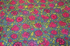 Pink flowers and green leaves motif cotton dress materials by Palav Bandhanis,  For any Inquiry please send us an email at contact@palav.com.  OR  You can also call us with the code number at 25616842 / 25906287