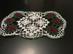 Holiday Crochet Doily, Rectangular Table Doily, Large Centerpiece Doily, Red and Green table Linen, Dresser Decor, Coffee Table Doily by GinnysGirlsTreasures on Etsy