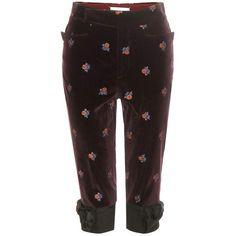 Maison Margiela Cropped Velvet Trousers ($565) ❤ liked on Polyvore featuring pants, capris, purple, cropped pants, cropped capri pants, velvet trousers, maison margiela and cropped trousers