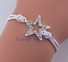 Glittery diamond star bracelet star jewelry White rope bridesmaid bracelet Wedding jewelry gift for best friend sister Wholesale retail by LovelyGiftidea, $2.99