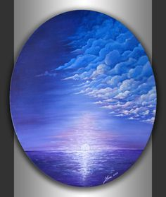 Original Abstract Seascape Painting Modern Acrylic Blue Lavender Landscape Artwork on 24x20 Ready to hang Oval Canvas Home Office Wall Art