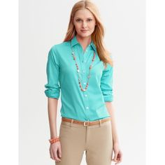 fdb48451 Banana Republic Non-Iron Fitted Shirt Beautiful teal button-down shirt by Banana  Republic