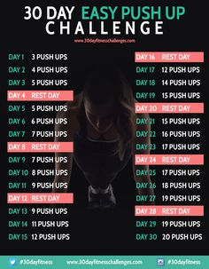 30 Day Easy Push Up Challenge Workout - 30 Day Fitness Challenges
