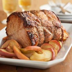 Saucy Apple Pork Roast---Nutrition Facts: Servings Per Recipe 10, cal. (kcal) 262, Fat, total (g) 8, chol. (mg) 87, sat. fat (g) 3, carb. (g) 10, Monosaturated fat (g) 4, Polyunsaturated fat (g) 1, fiber (g) 1, sugar (g) 9, pro. (g) 35, vit. A (IU) 49, vit. C (mg) 5, sodium (mg) 252, Potassium (mg) 611