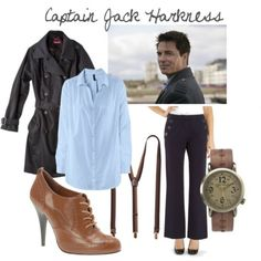 Captain Jack Harkness for Women H M long sleeve top, $13Long coat, $19Maine New England navy sailor pants, $24Call it SPRING wingtip high he...