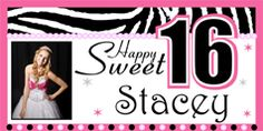 2 Cute Sweet 16 Personalized Birthday Banner.