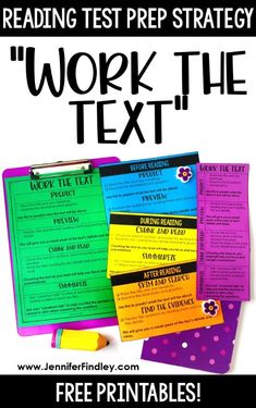 Reading Test Prep Strategy - Work the Text Work the text! This reading test prep strategy helps students engage with and comprehend lengthy texts on state assessments. Read more and grab FREE printables on this post. 5th Grade Ela, Reading Test, Third Grade Reading, Middle School Reading, Reading Intervention, Reading Lessons, Student Reading, Reading Skills, Teaching Reading