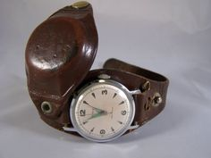 WW2 Leather Wristwatch Watch Protector Case & by MacArthurAntiques, $80.00
