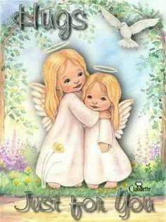 Hugs & Blessings to you my Angel Sisters. You are very much loved & appreciated! TY for your sweet pins, messages, concern, prayers & love. God has surely blessed me with all of you precious friends. We will meet someday:) Hug Quotes, Angel Quotes, Sister Quotes, Night Quotes, Sending Prayers, Sending Hugs, I Believe In Angels, Angels Among Us, Angel Pictures