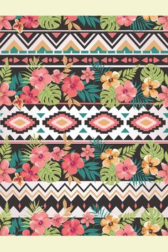 seamless ethnic mix tropical flower seamless vector pattern background by SalomeNJ, via Shutterstock Textile Patterns, Cool Patterns, Print Patterns, Beautiful Patterns, Textiles, Cool Backgrounds, Flower Backgrounds, Vector Pattern, Pattern Design