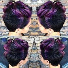 Punky Purple Crop Cut with iridescent purple by Iris Smith aka glamiris ombre HOT Beauty Magazine facebook.com/hotbeautymagazine