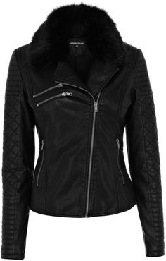 Warehouse Quilted fur collar jacket