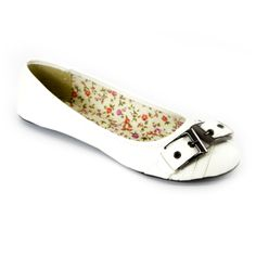White Buckle Round Toe Ballet Flats | Danice StoresChic classy ballet flats topped with double side buckles accent at the toe and floral lining.