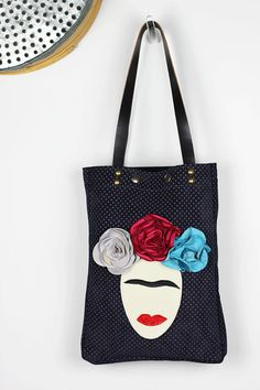 Frida Leather Tote/Navy Blue Leather Shoulder by NeroliHandbags