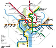 [double click the map to go to the website] Metrorail commonly called 'The Metro' provides safe, clean, reliable transit service for more than 700,000 customers a day throughout the Washington, DC area. The Metrorail system has five color-coded rail lines: Red, Orange, Blue, Yellow, and Green. The system is the second busiest in the United States, serving 86 stations in Virginia, Maryland, and the District of Columbia.