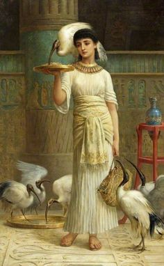 """""""Alethe, Attendant of the Sacred Ibis,"""" -- by Edwin Long (British 1829–1891); photo credit: Russell-Cotes Art Gallery & Museum"""