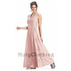 Sheelin A Line Retro Vtg Hippie Bohemian Maxi Halter Sun Dress - Dresses