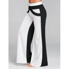 Gamiss Causal Wide Leg Pants With Color Block Women Pants Mid Elastic Waist Pants Loose Straight Flat Trousers Long Trousers Trousers Women, Pants For Women, Clothes For Women, Long Pants, Wide Leg Pants, Elastic Waist Pants, Fashion Pants, Ideias Fashion, Legs