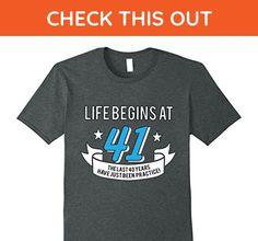 Mens Life Begins At 41 - Funny 41st Birthday T-Shirt Large Dark Heather - Birthday shirts (*Amazon Partner-Link)