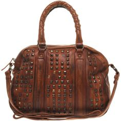 Ash Brown Studded Cross Body And Grab Bag ($474) ❤ liked on Polyvore featuring bags, handbags, shoulder bags, purses, bolsas, borse, women, brown crossbody purse, cross-body handbag and shoulder handbags