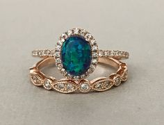 Art Deco Rose Gold Oval Dark Blue Green Opal Simulated Diamond