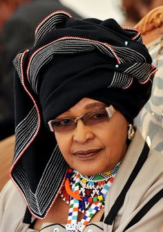 Winnie Madikizela-Mandela, former wife of Former South African President Nelson Mandela dressed in Xhosa tribe attire. Nelson Mandela, African Beauty, African Women, African Fashion, African Style, Women In History, Black History, African History, Black Is Beautiful