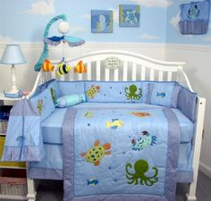 SoHo Sea Life Baby Crib Nursery Bedding Set 13 pcs included Diaper Bag with Changing Pad and Bottle Case
