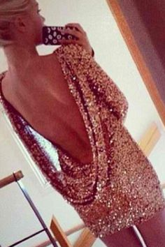 Long Sleeve Backless Sequined Gold Sheath Mini Dress