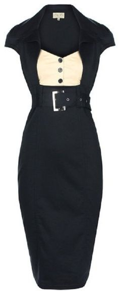 Lindy Bop 'Wynona' Chic Vintage 1950's Secretary Style Black Pencil Wiggle Dress