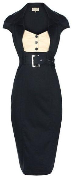 Lindy Bop 'Wynona' Chic Vintage 1950's Secretary Style Black Pencil Wiggle Dress