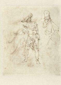 Toneelspeler in de rol van Pantalone, Rembrandt Harmensz. van Rijn, 1633 - 1637