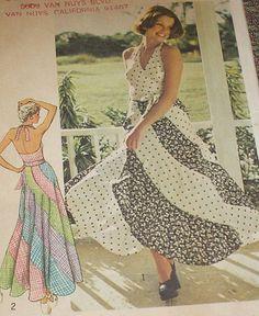 70s Swirl Skirt Pattern Hippie Maxi Skirt Bias Cut by VogueVixens