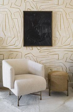 Going Graphic - Does anyone understand pattern better than Kelly Wearstler? We love to imagine this one in a dressing room. Kelly Wearstler Graffito Wallpaper, Price Upon Request, Kelly Wearstler. Top Interior Designers, Best Interior Design, Interior Decorating, Modern Interior, Modern Furniture, Furniture Design, Futuristic Furniture, Plywood Furniture, Luxury Interior