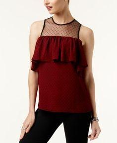 Michael Michael Kors Illusion Lace Tank Top,a Macy's Exclusive Style - White XXS