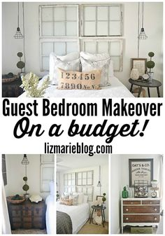 Guest Bedroom makeover on a budget! See how thrifted finds, a little paint, some DIY made this guest bedroom lovely!