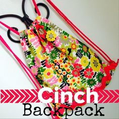 Kids Sewing Lessons. Make this cinch backpack in 2-3 hours. Learn to pin, cut, straight stitch, pivot, sew a cashing and top stitch. http://www.ahmelie.com/sewing-class-cinch-backpack/